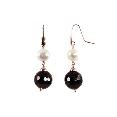 Black Agate & White Pearl Drop Earrings