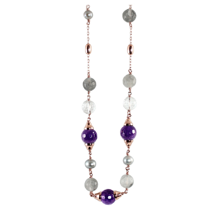 Silver Pearl, Amethyst, Cloudy Quartz, Crystal & Rose Gold Necklace - 100cm