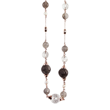 White Pearl, Cloudy Quartz, Crystal & Rose Gold Necklace - 100cm