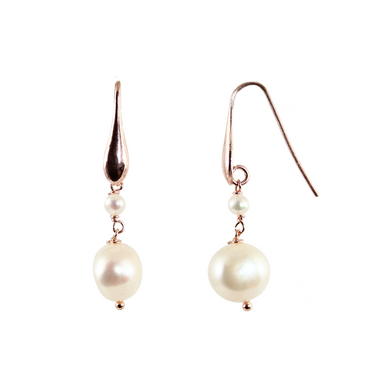 White Pearl Double Drop Earrings
