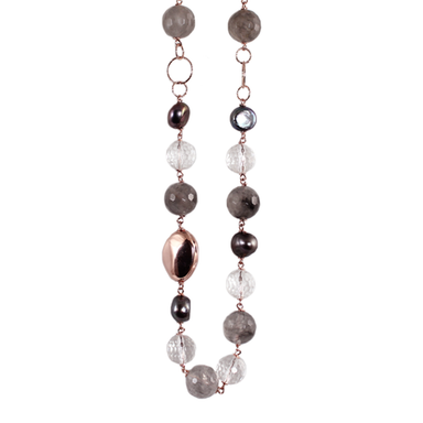 Silver Pearl, Cloudy Quartz, Crystal & Rose Gold Necklace - 110cm
