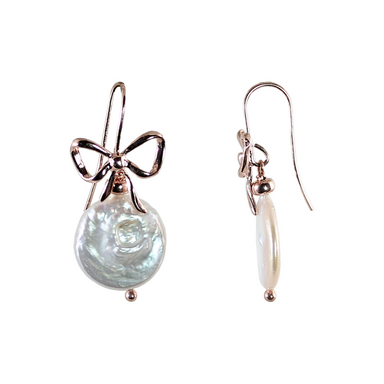 Bow Coin Pearl Earrings
