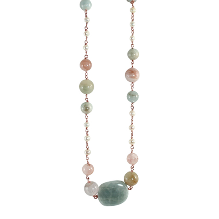 Morganite Cloudy Quartz & White Pearl Necklace - 58cm