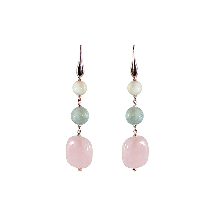 Morganite Three Drop Earrings