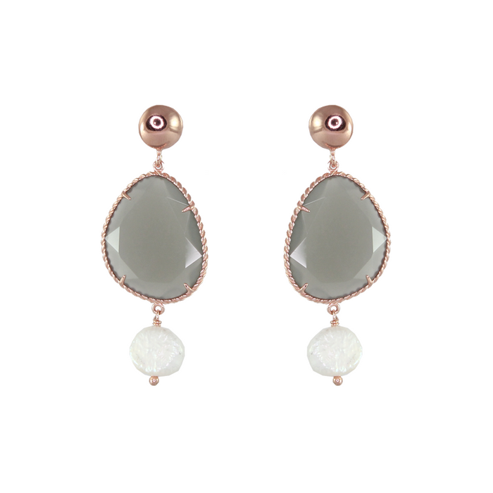 Green Agate & White Pearl Drop Earrings