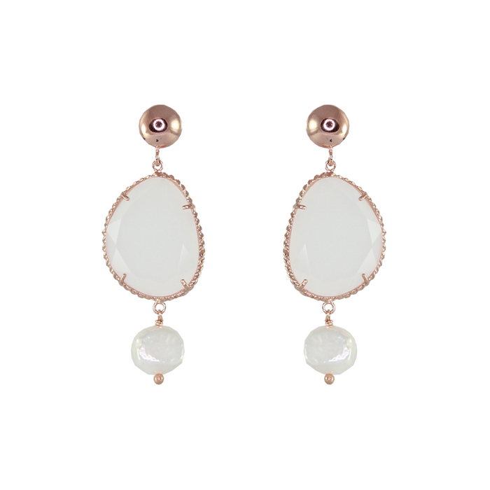 White Agate & Pearl Drop Earrings