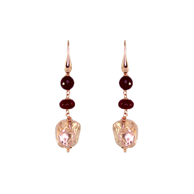 Ruby Agate Gold Nugget Earrings