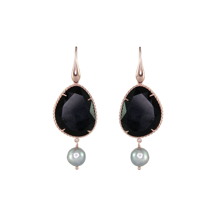 Black Agate & Pearl Drop Earrings