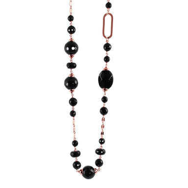 Black Agate & Link Necklace -100cm