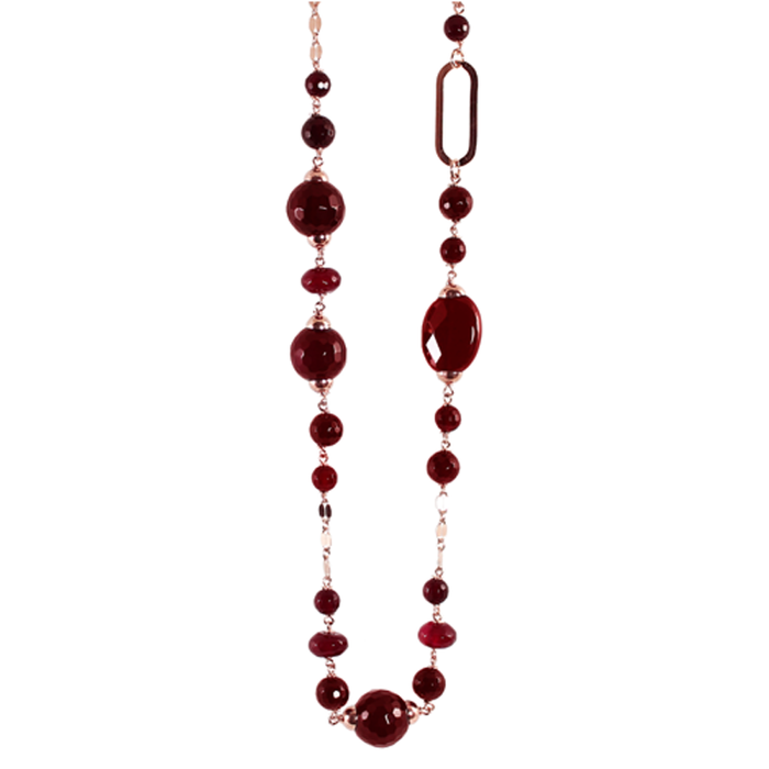 Ruby Agate & Link Necklace -100cm
