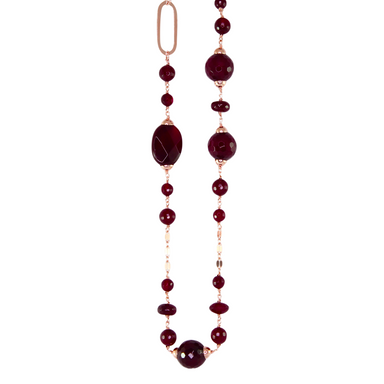Ruby Red Agate Gold Link Necklace