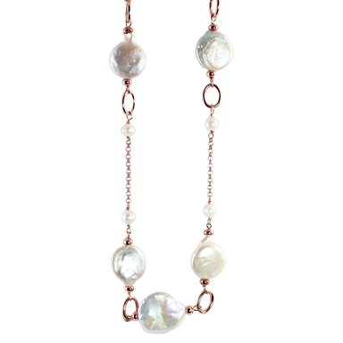White Coin Pearl, Single Link Necklace - 115cm