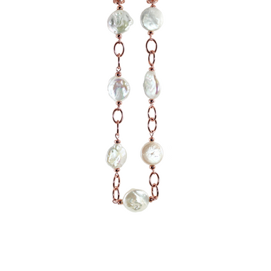 White Coin Pearl, Double Link Necklace - 58cm