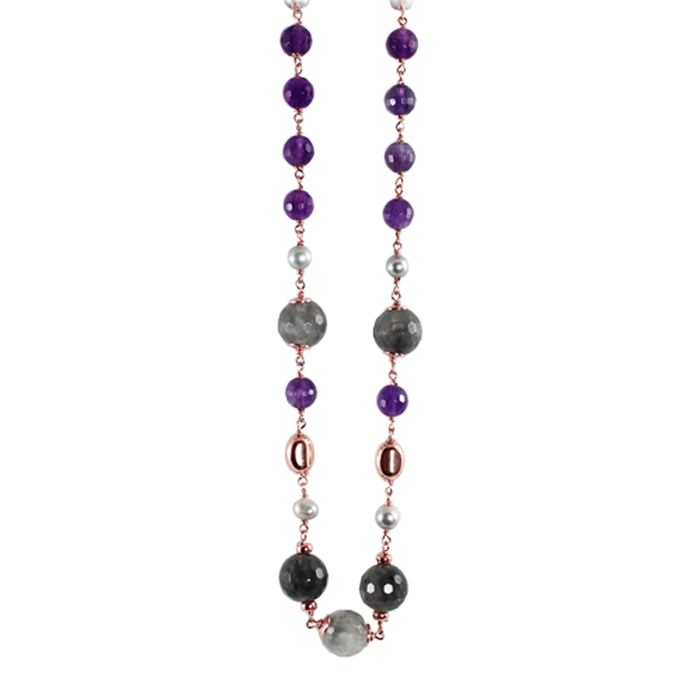 Amethyst, Cloudy Quartz, & Sliver Pearl Necklace - 96cm