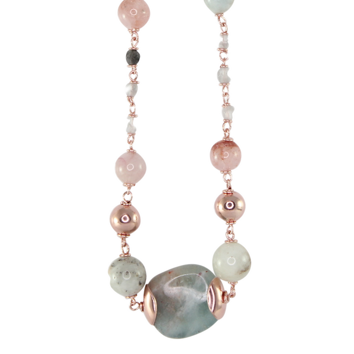 Morganite & Rose Gold Necklace - 56cm