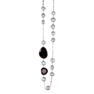 Silver Pearl & Black Agate Link Necklace
