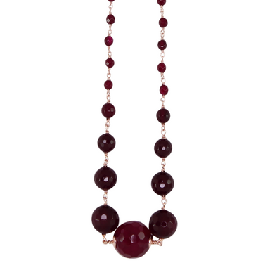 Ruby Red Agate Necklace - 56cm