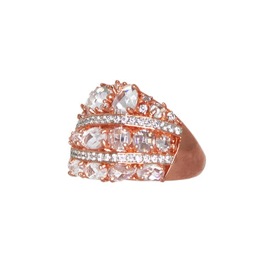 Five Row Crystal & Rose Gold Ring