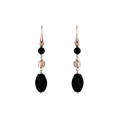 Black Agate & Rose Gold Triple Drop Earrings