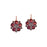 Garnet & Crystal Flower Earrings