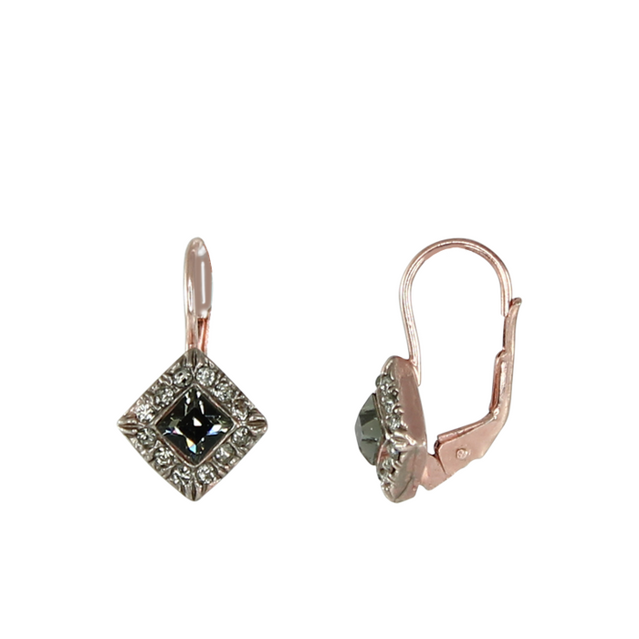 Crystal Small Square Drop Earrings