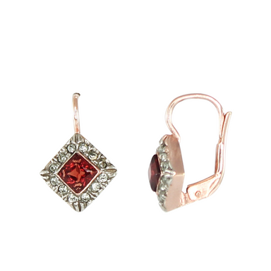 Garnet & Crystal Square Drop Earrings