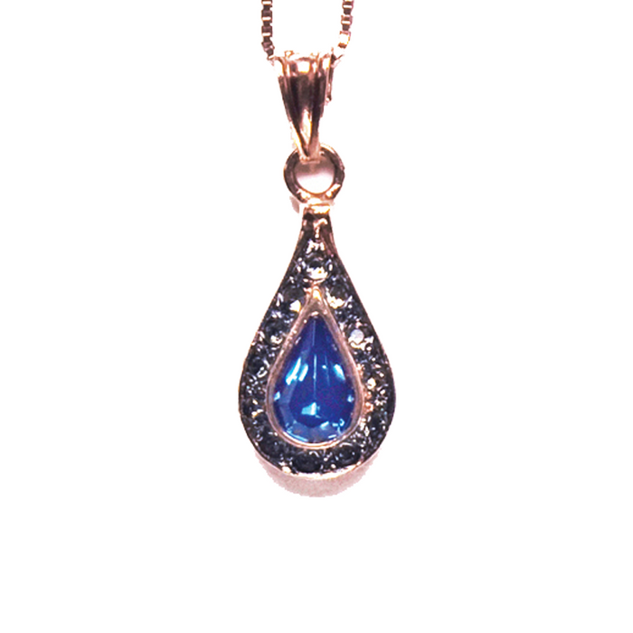 Bright Blue Crystal Teardrop Pendant