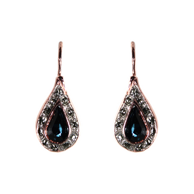 Blue & Crystal Teardrop Earrings