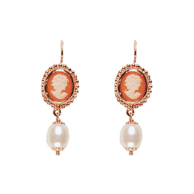 Cameo & Pearl Drop Earrings