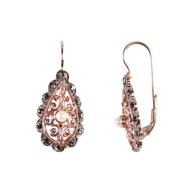 Pearl & Rose Gold Venetian Drop Earrings
