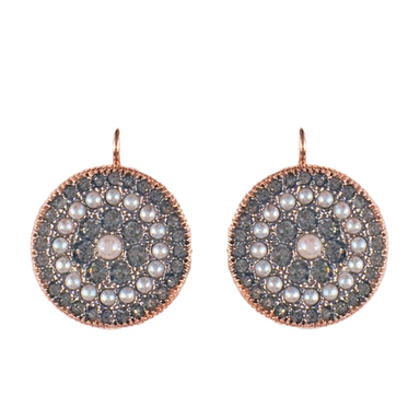 Pearl & Crystal Disc Drop Earrings