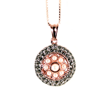 Pearl & Crystal Round Pendant