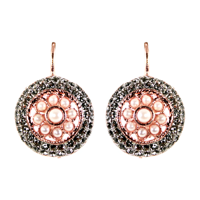 Pearl & Crystal Round Drop Earring