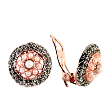 Pearl & Crystal Round Drop Clip-on