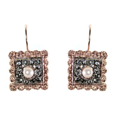 Pearl & Crystal Square Drop Earrings