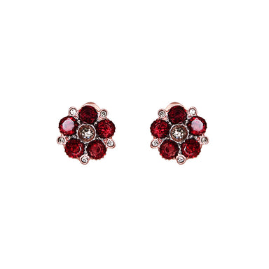 Garnet Flower Clip-On Earrings