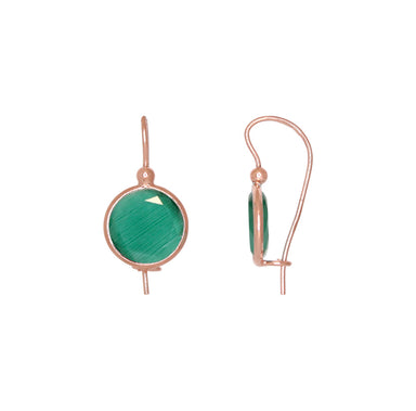 Round Dark Green Earrings