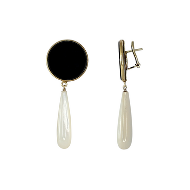 Onyx Disc Pearl Drop Earrings