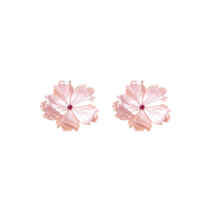 Pink Flower With Ruby Earrings