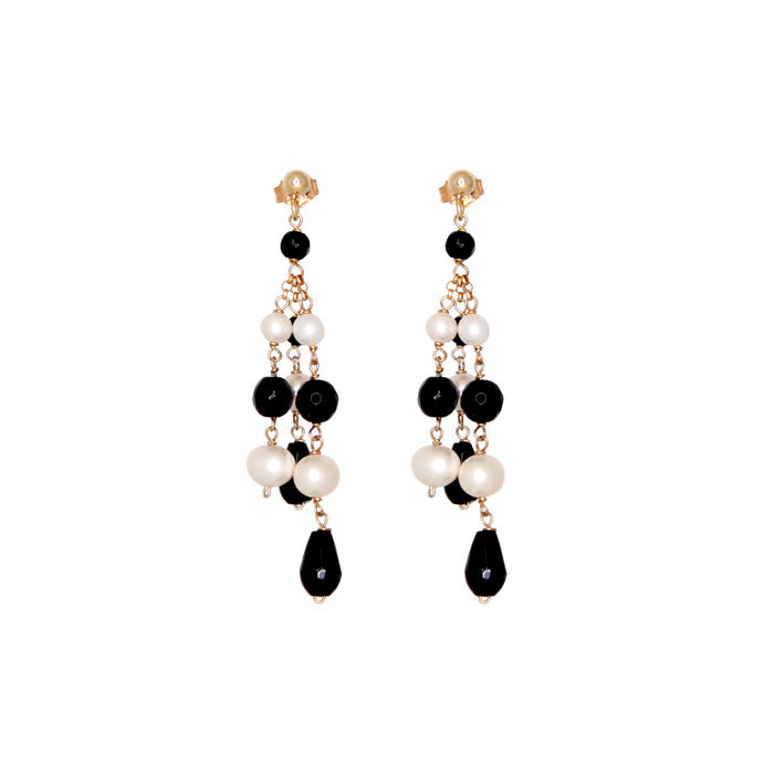Onyx & Pearl 3 Strand Drop Earrings