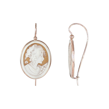 Medium Oval Cameo Lady's Head Earrings