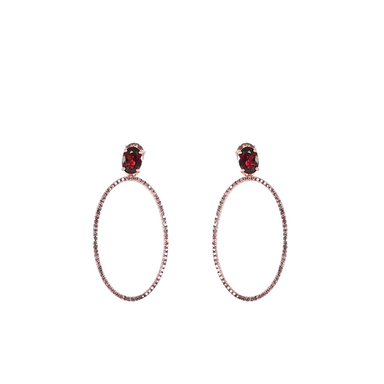 Red Garnet Hoop Earrings