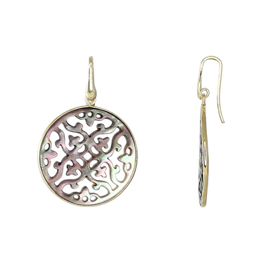 Grey Mother-of-Pearl Filigree Earrings
