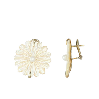 White Mother-of-Pearl Flower Earrings