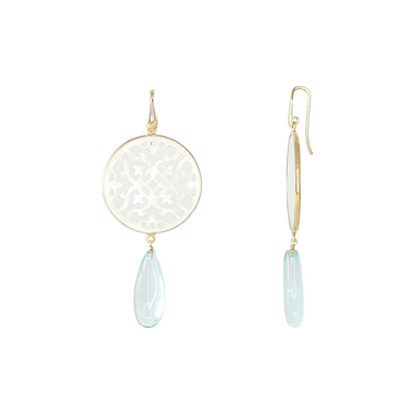 White Mother-of-Pearl Filigree Aqua Earrings