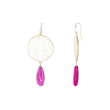 White Mother-of-Pearl Filigree Pink Earrings