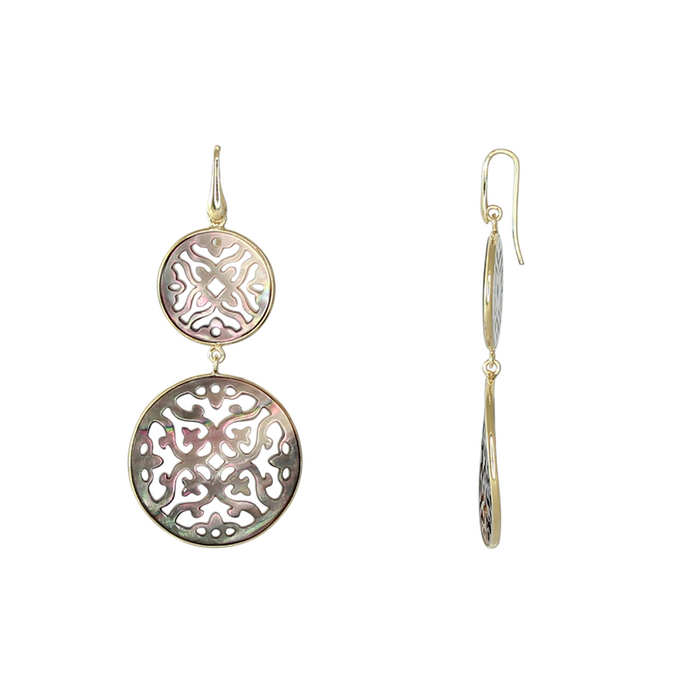 Grey Mother-of-Pearl Double Filigree Earrings