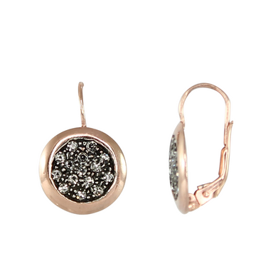 Crystal & Rose Gold Disc Earrings