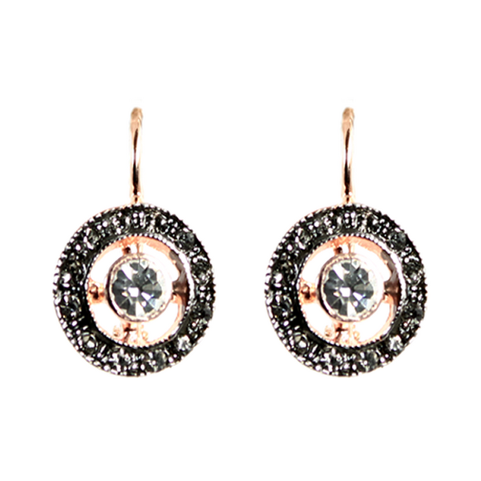 Bright Crystal Round Cutout Drop Earrings