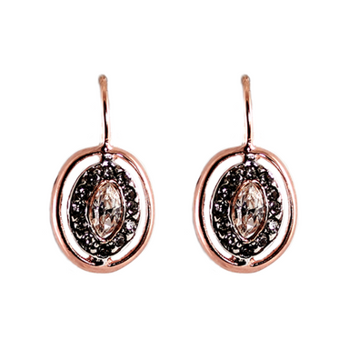 Bright Crystal & Rose Gold Oval Drop Earrings